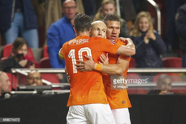 Robin van Persie of Holland Arjen Robben of Holland Jeffrey Bruma of Holland during the match between Netherlands and Latvia on November 16 2014 at...