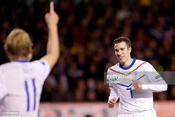 Robin van Persie of Holland during the EURO 2012 Qualifying match between Sweden and Netherlands at the Rasunda stadium on October 11, 2011 in Solna,...