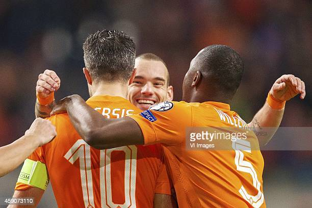 Robin van Persie of Holland Wesley Sneijder of Holland Jetro Willems of Holland during the match between Netherlands and Latvia on November 16 2014...