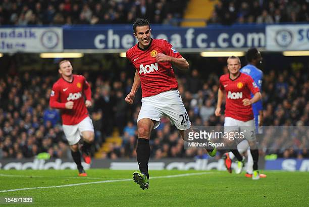 Robin van Persie of Manchester United celebrates scoring the second goal during the Barclays Premier League match between Chelsea and Manchester...