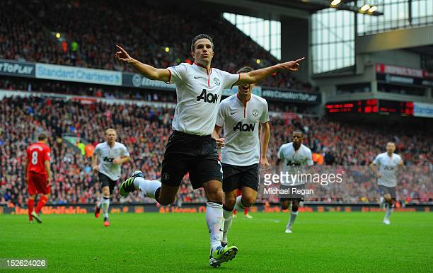 Robin Van Persie of Manchester United celebrates scoring to make it 21 during the Barclays Premier League match between Liverpool and Manchester...