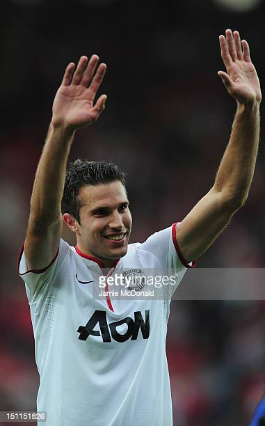 Robin Van Persie of Manchester United celebrates victory during the Barclays Premier League match between Southampton and Manchestrer United at St...
