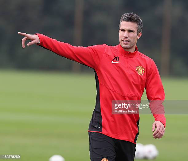 Robin van Persie of Manchester United in action during a first team training session ahead of their UEFA Champions League match against Shaktar...