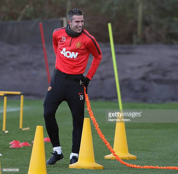 Robin van Persie of Manchester United in action during a first team training session at Aon Training Complex on December 11, 2014 in Manchester,...
