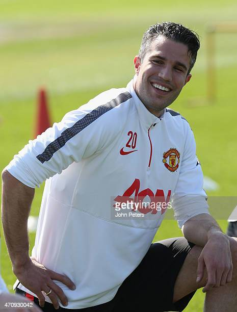 Robin van Persie of Manchester United in action during a first team training session at Aon Training Complex on April 24, 2015 in Manchester, England.