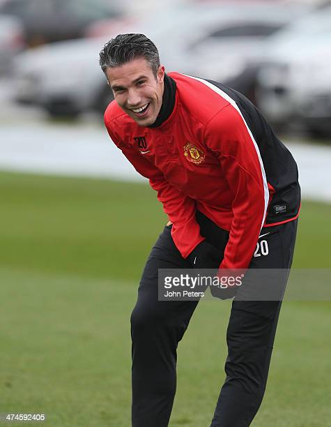 Robin van Persie of Manchester United in action during a first team training session, ahead of their UEFA Champions League Round of 16 match against...