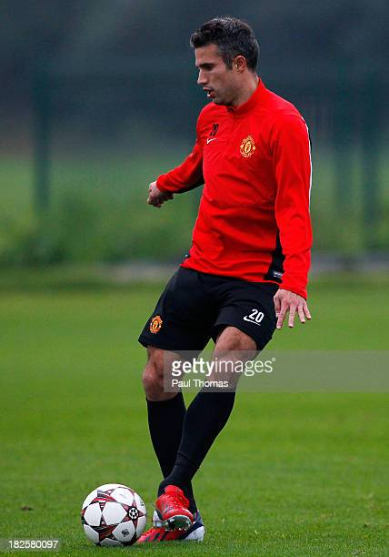 Robin van Persie of Manchester United in action during a training session ahead of their Champions League Group A match against Shakhtar Donetsk at...