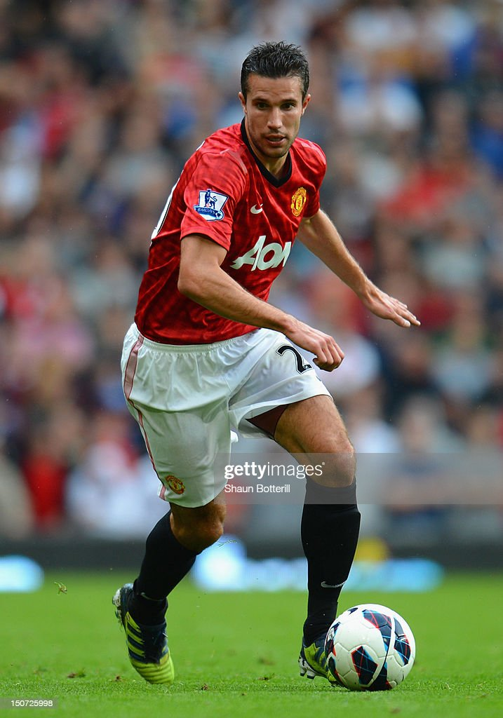 Robin van Persie of Manchester United in action during the Barclays Premier League match between Manchester United and Fulham at Old Trafford on August 25, 2012 in Manchester, England.
