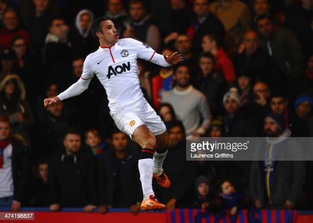 Robin Van Persie of Manchester United jumps for joy as he celebrates the first goal during the Barclays Premier League match between Crystal Palace...
