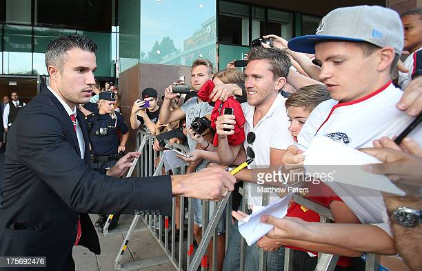 Robin van Persie of Manchester United leaves the team hotel ahead of the preseason friendly match between AIK Fotboll and Manchester United at...