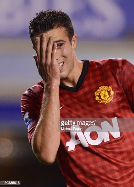 Robin van Persie of Manchester United reacts during the Barclays Premier League match between Everton and Manchester United at Goodison Park on...