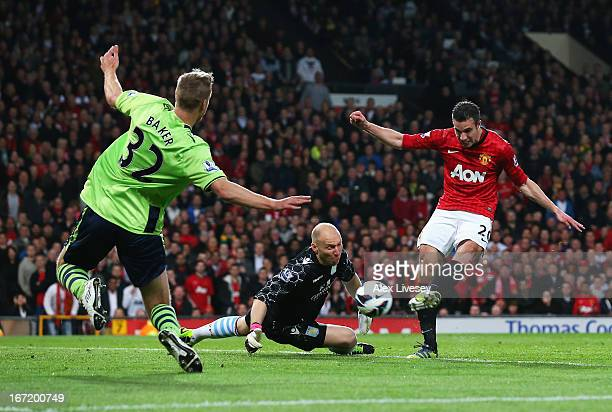 Robin van Persie of Manchester United scores his hat trick goal during the Barclays Premier League match between Manchester United and Aston Villa at...
