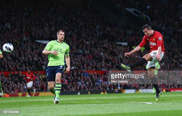 Robin van Persie of Manchester United scores his team's second goal during the Barclays Premier League match between Manchester United and Aston...