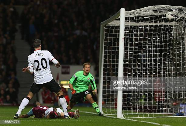 Robin van Persie of Manchester United scores their second goal during the Barclays Premier League match between West Ham United and Manchester United...