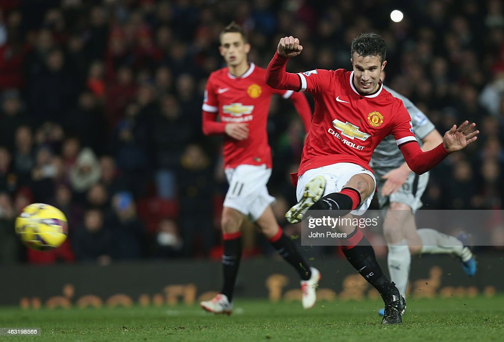 Robin van Persie of Manchester United scores their third goal during the Barclays Premier League match between Manchester United and Burnley at Old Trafford on February 11, 2015 in Manchester, England.