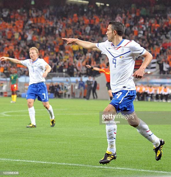 Robin van Persie of Netherlands celebrates scoring a goal during the 2010 FIFA World Cup South Africa Group E match between Cameroon and Netherlands...