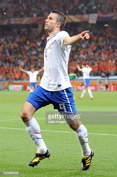 Robin van Persie of Netherlands celebrates scoring during the 2010 FIFA World Cup South Africa Group E match between Cameroon and Netherlands at Cape...