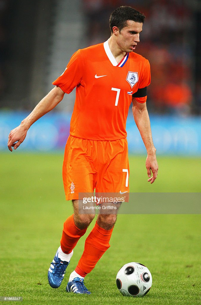 Robin van Persie of Netherlands in action during the UEFA EURO 2008 Quarter Final match between Netherlands and Russia at St. Jakob-Park on June 21, 2008 in Basel, Switzerland.