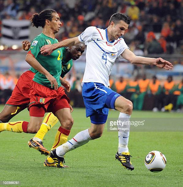 Robin van Persie of Netherlands lines up a shot during the 2010 FIFA World Cup South Africa Group E match between Cameroon and Netherlands at Cape...
