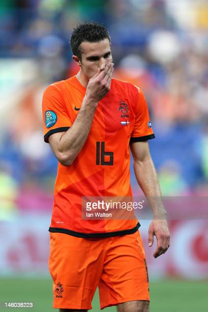 Robin van Persie of Netherlands reacts during the UEFA EURO 2012 group B match between Netherlands and Denmark at Metalist Stadium on June 9, 2012 in...