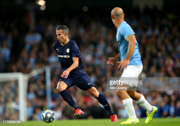 Robin Van Persie of Premier League AllStars XI in action during the Vincent Kompany testimonial match between Manchester City Legends v Premier...