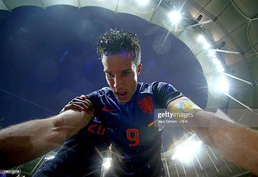 Robin van Persie of the Netherlands celebrates after scoring a goal during the 2014 FIFA World Cup Brazil Group B match between Spain and Netherlands at Arena Fonte Nova on June 13, 2014 in Salvador, Brazil.