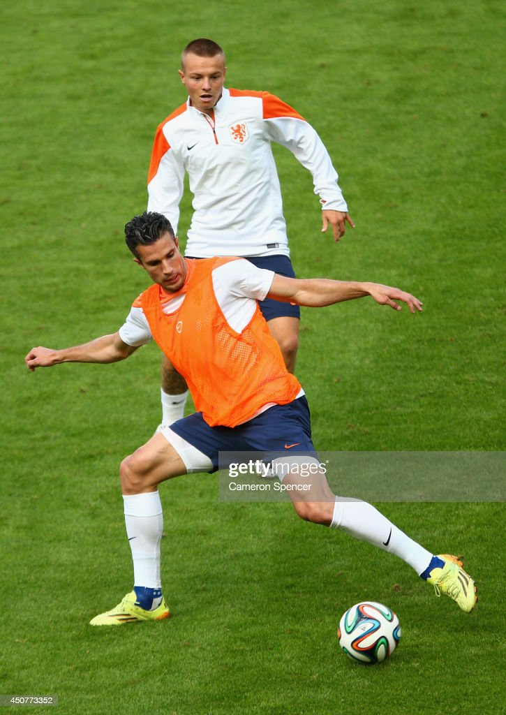 Robin van Persie of the Netherlands controls the ball during a Netherlands training session and press conference at Estadio Beira-Rio on June 17, 2014 in Porto Alegre, Brazil.