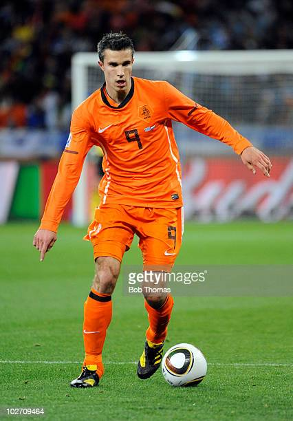 Robin Van Persie of the Netherlands during the 2010 FIFA World Cup South Africa Semi Final match between Uruguay and the Netherlands at Green Point...