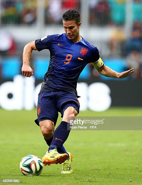 Robin van Persie of the Netherlands in action during the 2014 FIFA World Cup Brazil Group B match between Spain and Netherlands at Arena Fonte Nova...