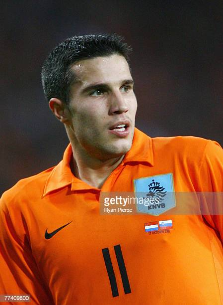 Robin van Persie of the Netherlands looks on during the Euro 2008 Group G qualifying match between The Netherlands and Slovenia at Philips Stadium on...