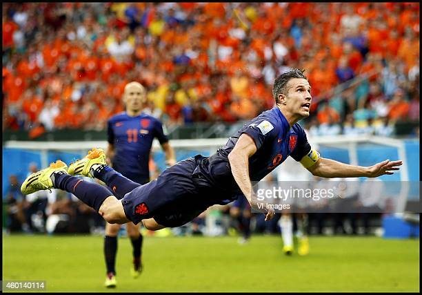 Robin van Persie scores during the FIFA World Cup 2014 groupstage group B match between Spain and Netherlands on June 13 2014 at the Arena Fonta Nova...