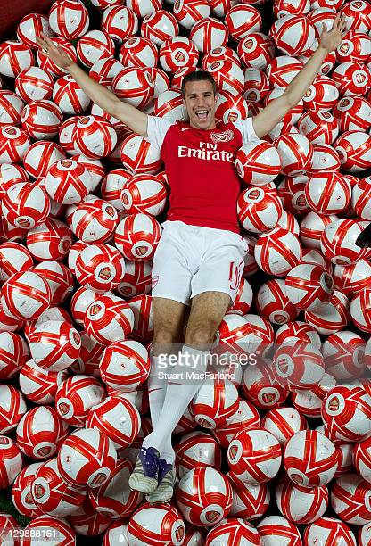 Robin van Persie takes part in an Arsenal Magazine photoshoot relating to his 100 goals scored for the Club. Arsenal Training Ground, London Colney...