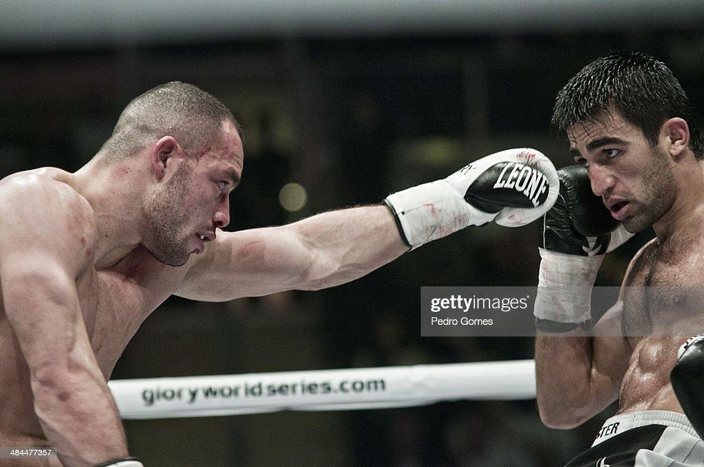 Robin van Roosmalen and Marat Grigorian fight in the Glory 15 kickboxing event on April 12, 2014 in Istanbul, Turkey.