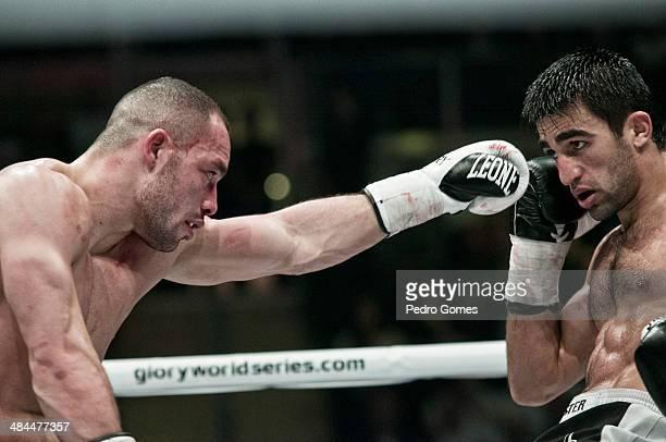 Robin van Roosmalen and Marat Grigorian fight in the Glory 15 kickboxing event on April 12 2014 in Istanbul Turkey