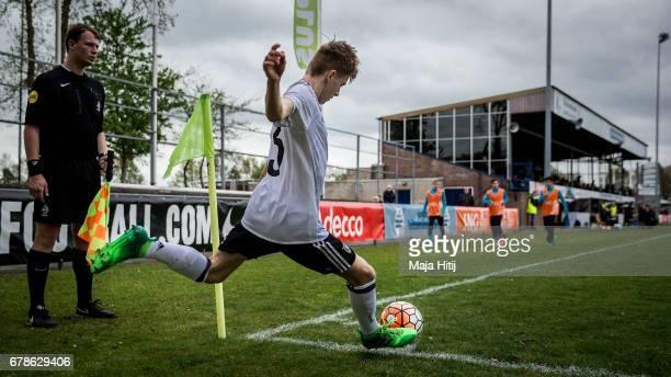 Robin Velasco of Germany kicks the ball during the U15 Netherlands v U15 Germany International Friendly Match on May 4 2017 in Wezep Netherlands