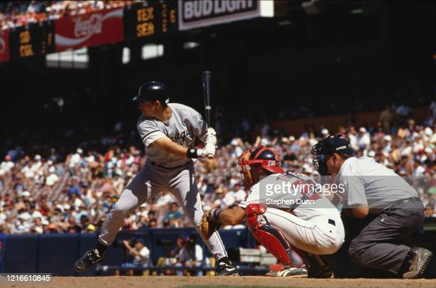 Robin Ventura First and Third Baseman for the Chicago White Sox at bat during the Major League Baseball American League West game against the...