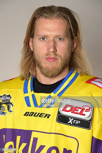 Robin Weihager of Krefeld Pinguine during the portrait shot on august 14, 2014 in Krefeld, Germany.