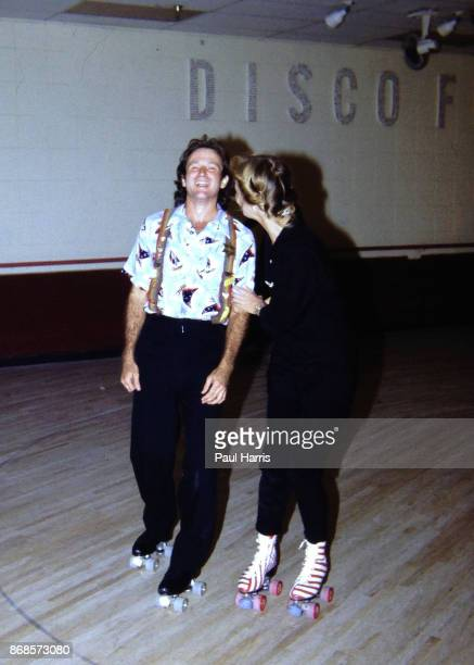 Robin Williams 26 years old just about to start the Mork Mindy show that went from 1978 to 1982 roller skates at a party in Hollywood December 15...