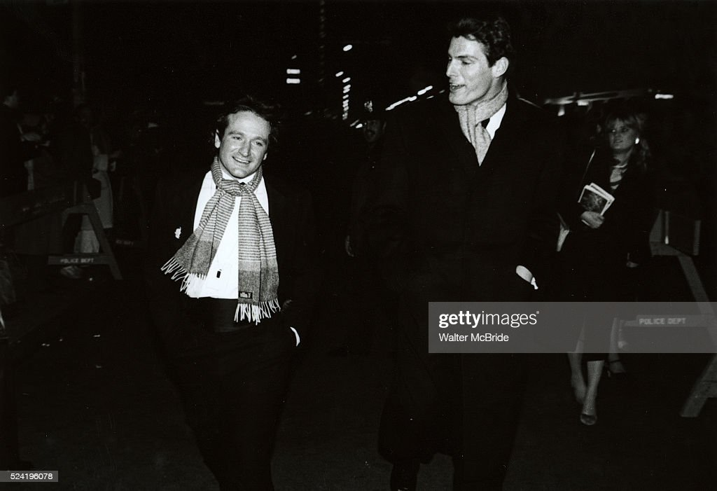 Robin Williams and Christopher Reeve Attending a Broadway Show in New York City. March 1982 �� Walter McBride / Retna Ltd : News Photo
