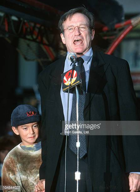 Robin Williams and Cody Williams during Robin Williams Footprint Ceremony at Mann's Chinese Theatre in Hollywood California United States