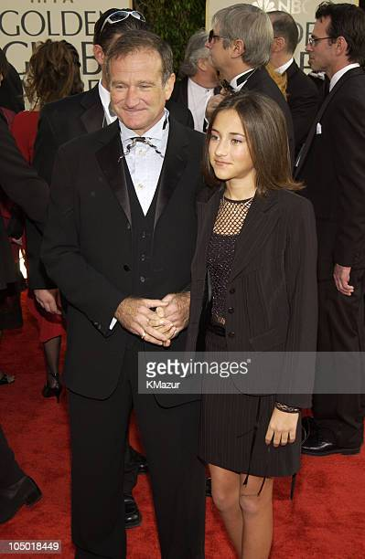 Robin Williams and daughter Zelda during The 60th Annual Golden Globe Awards Arrivals at The Beverly Hilton Hotel in Beverly Hills California United...