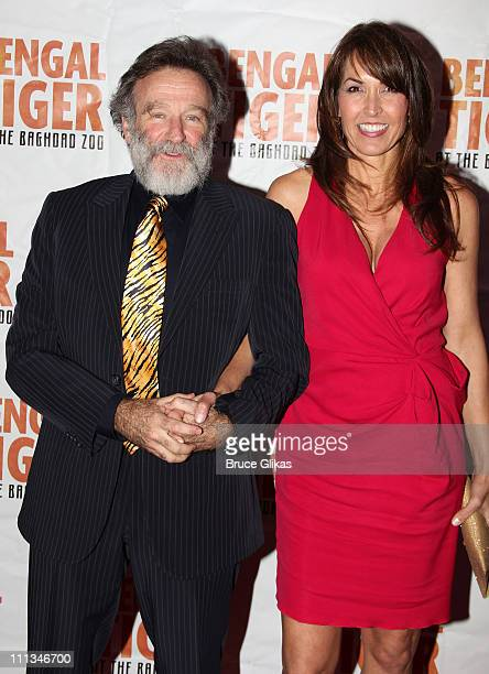 Robin Williams and girlfriend Susan Schneider pose at The Opening Night After Party for Bengal Tiger at the Baghdad Zoo on Broadway at Espace on...