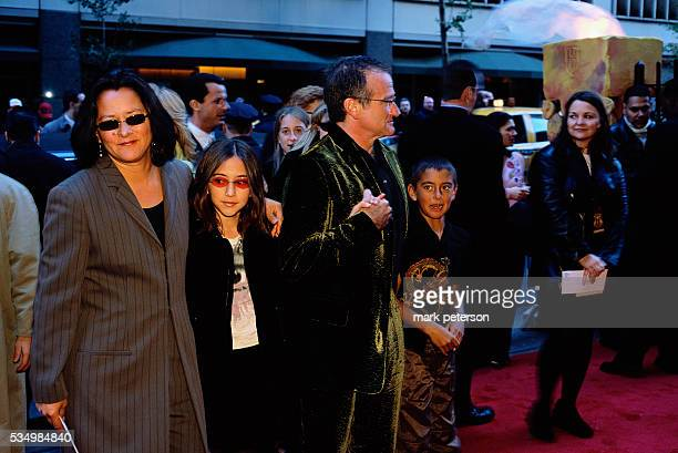 Robin Williams and his family attend the New York premier of the 2001 film Harry Potter and the Sorcerer's Stone Left to right are wife Marsha...
