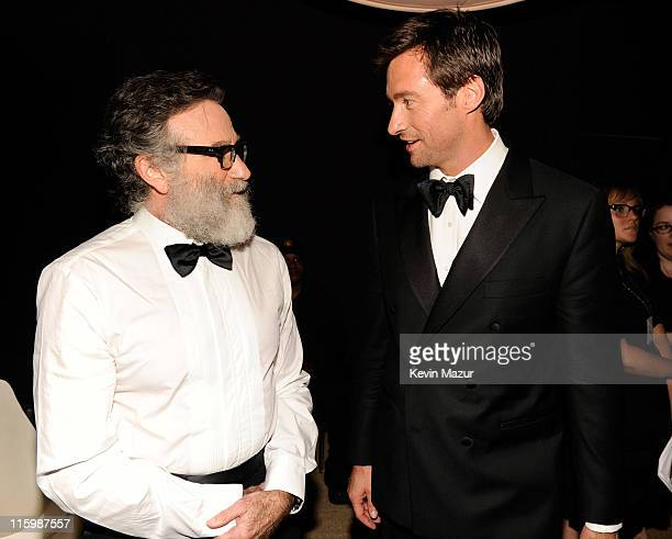 Robin Williams and Hugh Jackman attend the 65th Annual Tony Awards at the Beacon Theatre on June 12 2011 in New York City