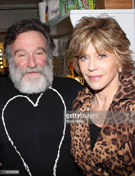 Robin Williams and Jane Fonda pose backstage at the hit play Bengal Tiger at the Baghdad Zoo on Broadway at The Richard Rogers Theater on April 26...