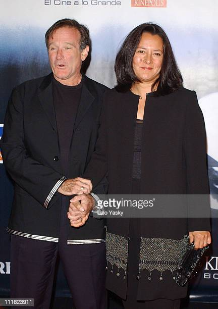 Robin Williams and Marsha Williams during Robin Williams and Wife Marsha Attend Spanish Premiere of 'Insomnia' at Kinepolis Cinema in Madrid Spain