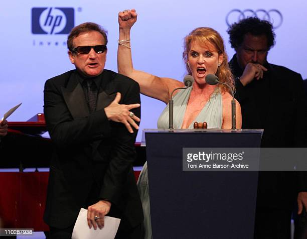 Robin Williams and Sarah Ferguson during amfAR's Cinema Against AIDS Benefit in Cannes Presented by Bold Films Palisades Pictures and The Weinstein...