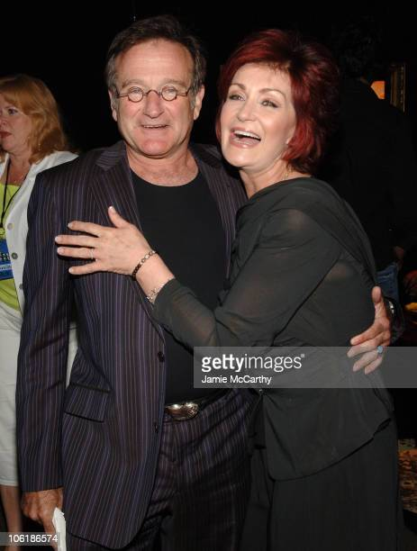 Robin Williams and Sharon Osbourne during 2007 VH1 Rock Honors Green Room at Mandalay Bay in Las Vegas Nevada United States