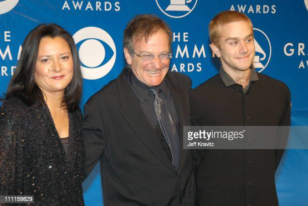 Robin Williams and wife Marsha and son during The 45th Annual GRAMMY Awards Arrivals at Madison Square Garden in New York NY United States