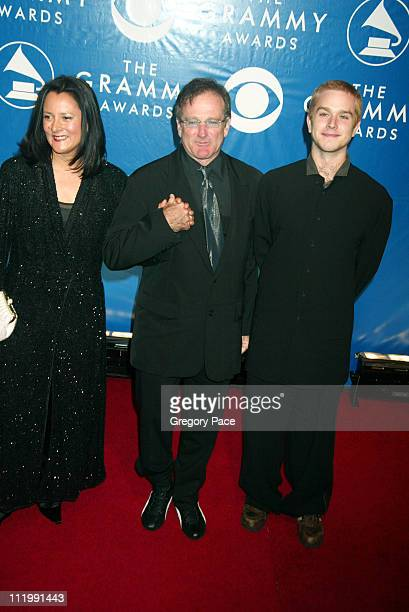 Robin Williams and wife Marsha and son during The 45th Annual GRAMMY Awards Arrivals by Gregory Pace at Madison Square Garden in New York NY United...
